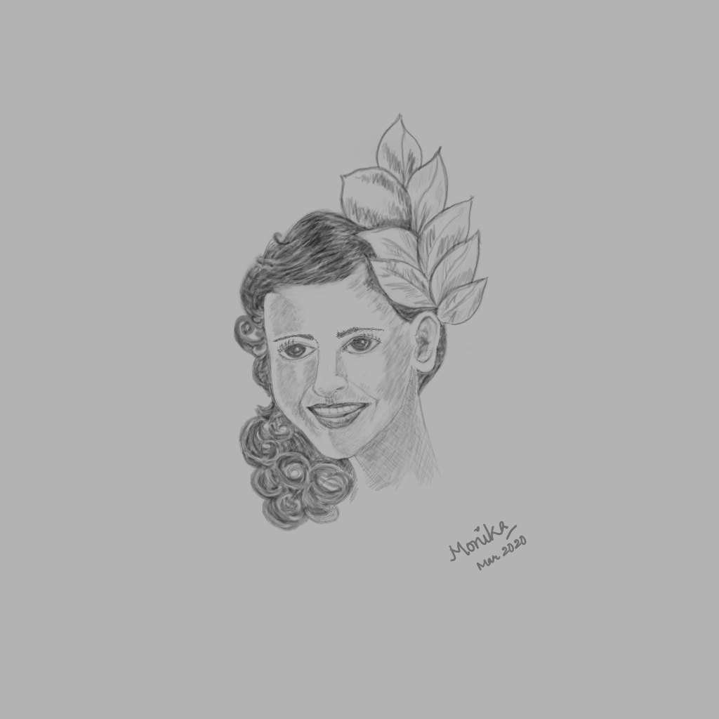 Smiling Girl Portrait Sketch Krita